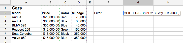 Using the Filter function to select a range based on multiple criteria