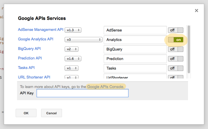 Authorizing the Goole Apps Script with you API key