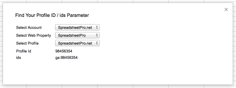 Find you Google Analytics Profile ID for the Google Apps Script