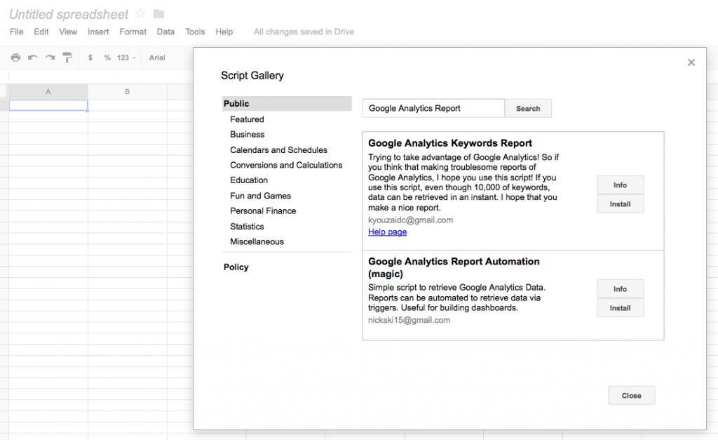 Search for Google Analytics Report and press install