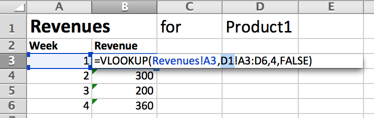 We can't use a reference to D1 to specify the sheet we want in our VLOOKUP() function like this