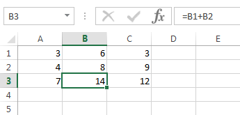 Automatically Excel copies your formula and updated the references to column B and C