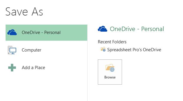 Choosing between OneDrive and Computer to save a file