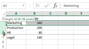 Click and drag to change the row's height