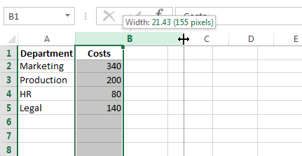 Drag the column width to the right