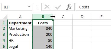 Drag the column width
