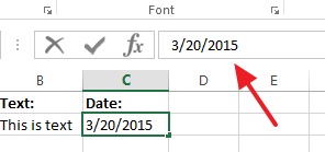 Editing a cells content in the formula bar