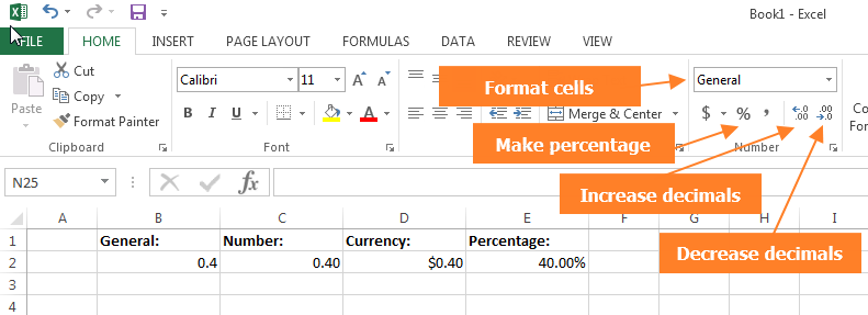 Format cells shortcuts in the Excel ribbon.