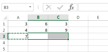 Now select cell B3 and C3 (hold CTRL to select multiple cells)