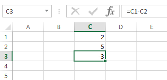 Now the edited formula in C3 shows an updated result