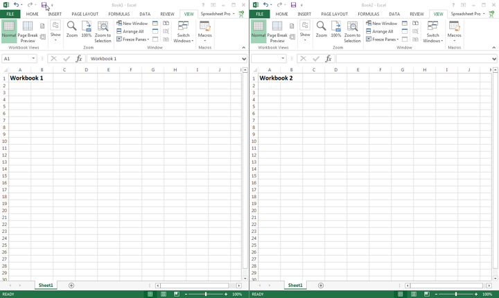 Now you can see multiple workbooks next to each other