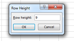 Set the row height and press OK