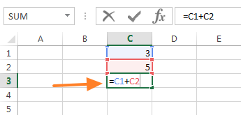 Typing a formula into cell C3