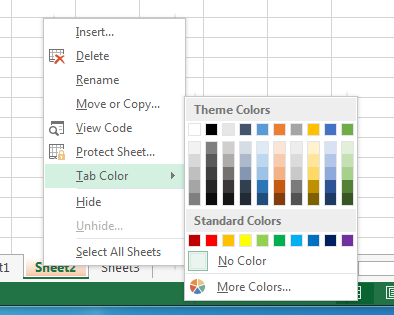 Changing the color of your worksheets tabs