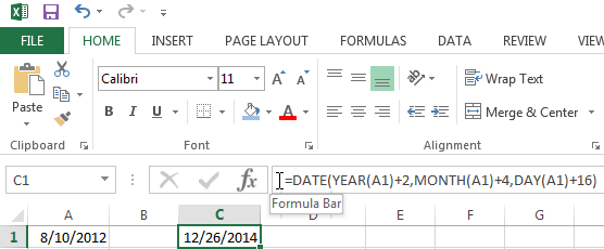 Adding or subtracing a number of years, months and days in Excel