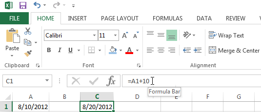 Adding or subtracting days from a date in Excel