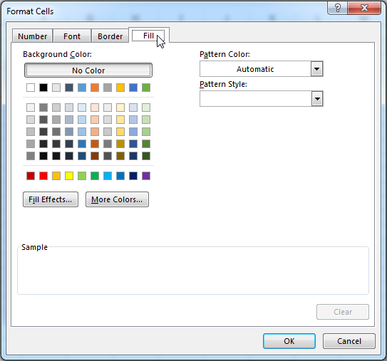 Change the cell color by clicking on the Fill tab and selecting a color