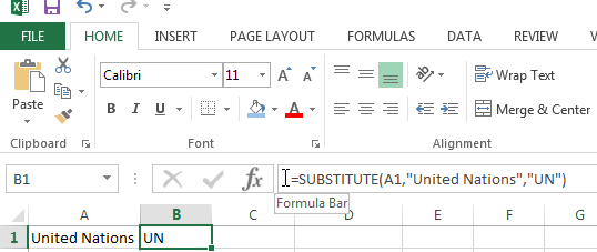 Changing text with the SUBSTITUTE Function in Excel
