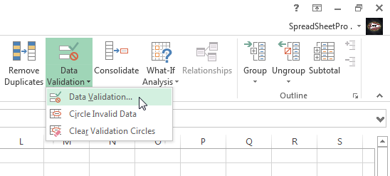 Click Data Validation in the Data Tools section of the ribbon