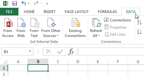 Click Data on top of the Excel ribbon