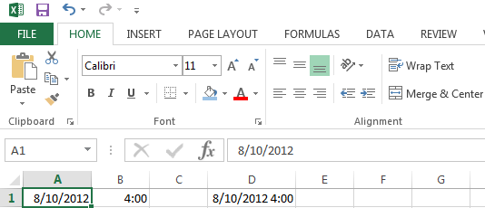Entering Date and Time into Excel