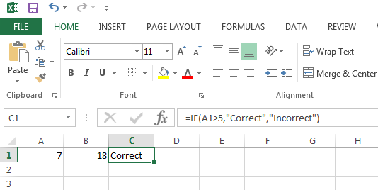 Example of an Excel IF Function