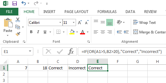 Example of an Excel OR Function