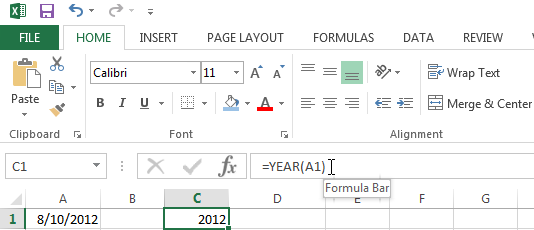 Example of an Excel YEAR Function