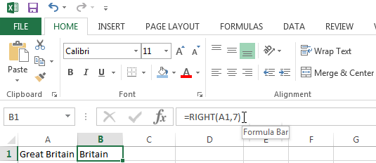 Extracting the rightmost characters using the RIGHT Function
