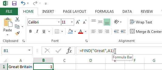 Find the position of text in a string using the FIND Function