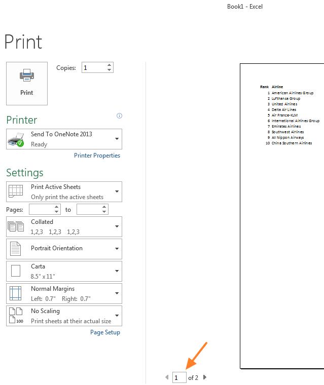 Format preview of Excel worksheet