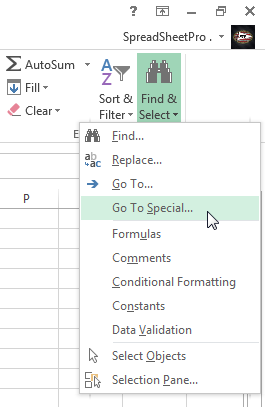 Go To Special option under the Find & Select drop-down list