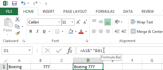 Joining Strings in Excel