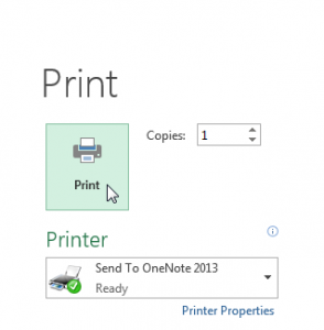 Print button on top of Settings pane