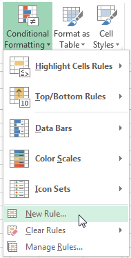 Select New Rule from the Conditional Formatting drop-down list