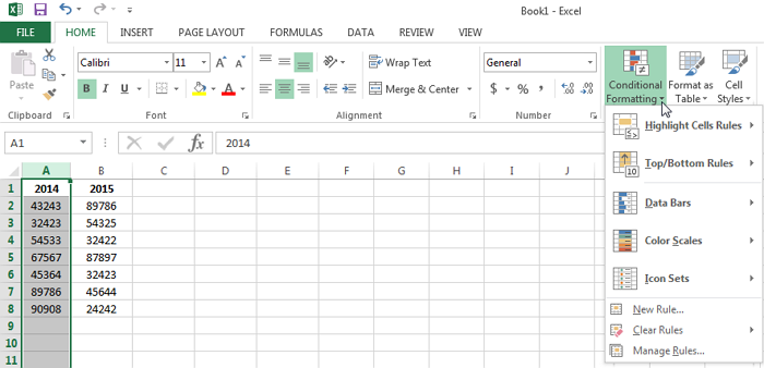Select the Conditional Formatting button under the Home tab