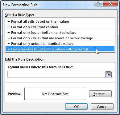 Select the 'Use a formula to determine which cells to format' option