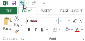 The Undo option is located on the top left-hand corner of Excel