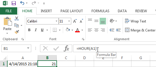 Use the HOUR function to have Excel show you what hour it is
