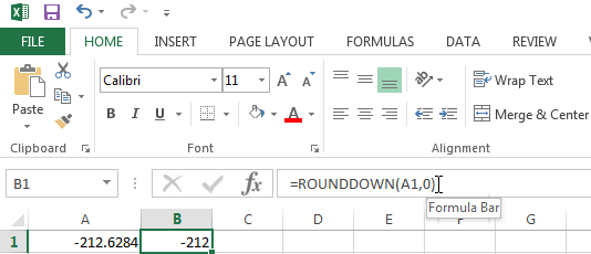Use the ROUNDDOWN function to always round a number down towards zero