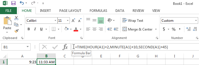 Use the TIME function to add hours, minutes, and seconds to a time entry