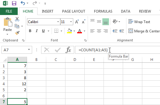 Use the COUNT function to count the number of cells containing numbers