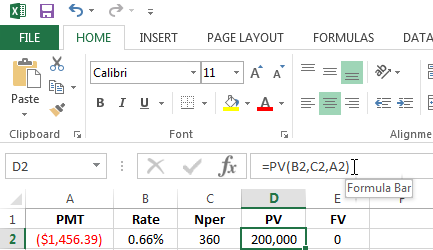 Using the PV function in Excel