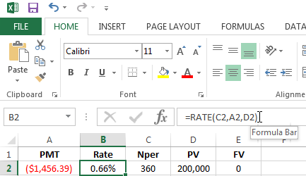 Using the RATE function in Excel
