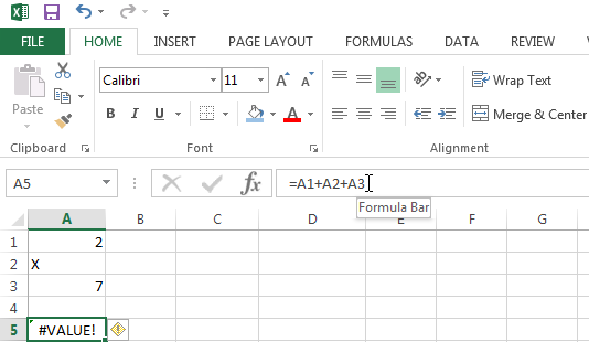#VALUE! Error in Excel